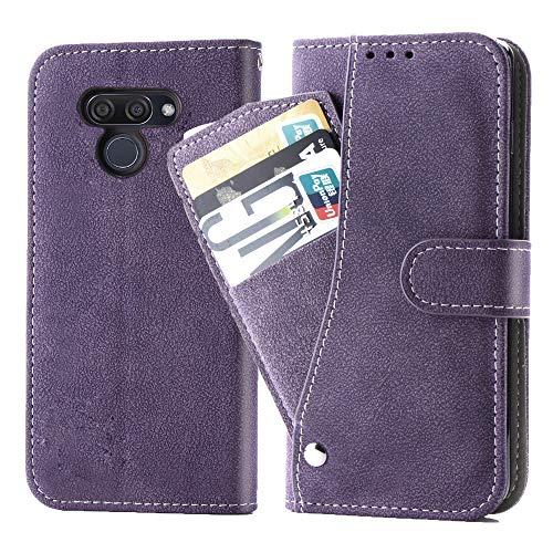 Asuwish LG K50 Hülle,Leder Lederhüllen klappbar Schutzhülle Wallet Hülle Mit Kartenfach Ständer Stand Dünn Stoßfest Panzerglas + Handyhülle für LG K50/Q60/X6/K12 MAX Lila