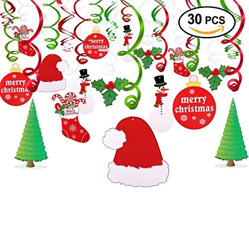 Howaf 30 Piezas Navidad Colgar Decoraciones de Remolino Adornos de espirales Guirnalda para Navidad de Fiesta Decoraciones hogar Techo, Feliz Navidad Santa muñeco de Nieve