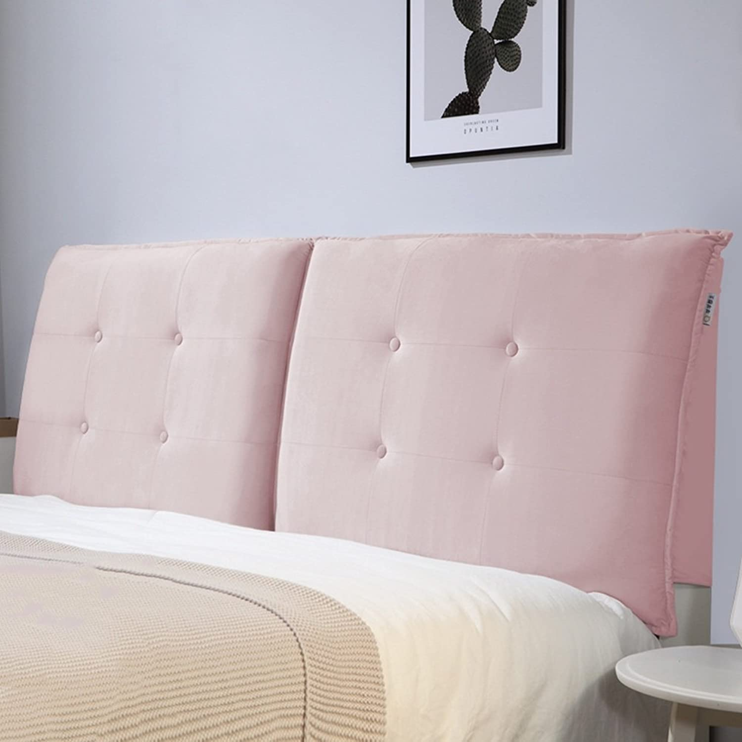 WENZHE Upholstered Fabric Headboard Bedside Cushion Pads Cover Bed Wedges Backrest Waist Pad Soft Case Bedroom Large Back Sofa Pillow Multifunction Home Supplies Washable Handmade Simple Fashion, There Is Headboard   No Headboard, 2 colors, 5 Sizes ( Colo