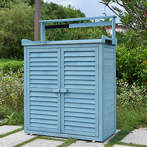 Outdoor Garden Storage Shed Wooden Chest Double Doors With 2 In 1 Galvanized Roof+Hook,Blue
