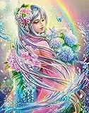 Kit de Bricolaje 5D de pintura de diamante,5D diamond painting, belleza anime de cristal bordado de punto de cruz, lienzo artesanal para decoración de pared,Hada de las flores