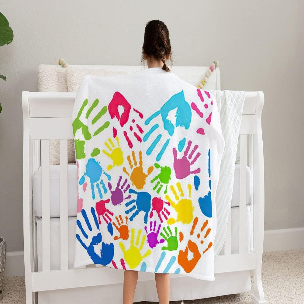 GANTEE Heart Handprints Max Ranking TOP4 87% OFF Family Super Soft Blanke Fleece Cozy and