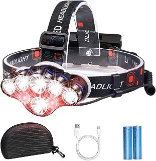 BrightestHeadlamp Flashlight, 8 LED USB Rechargeable Headlamp 18000 Lumen Waterproof Flashlight, Smart Infrared Sensor Sw...