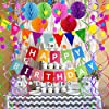 FECEDY Happy Birthday Banner with Colorful Paper Flag Bunting Paper Circle Confetti Garland Swirl Streamers Honeycomb Ball for Birthday Party Decorations #5
