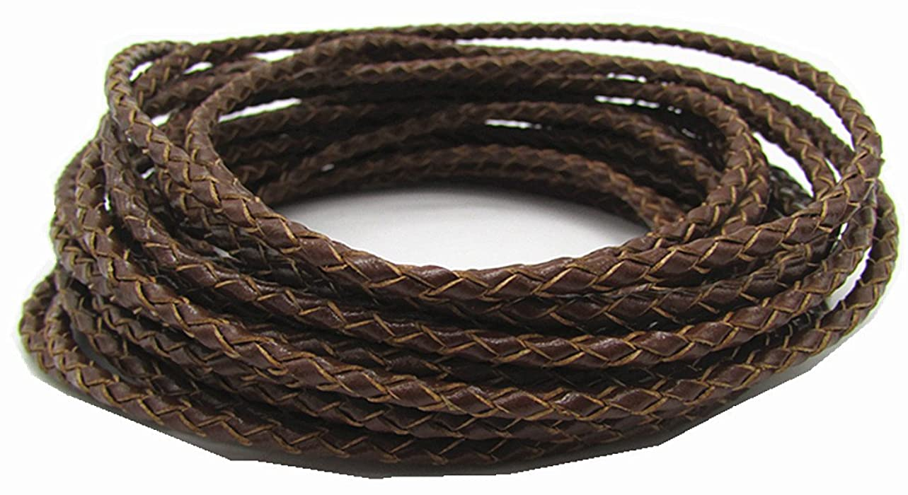 3.0mm Round Folded Bolo PU Braided Leather Cord for Necklace Bracelet Jewelry Making 5M (Brown) whcqss923