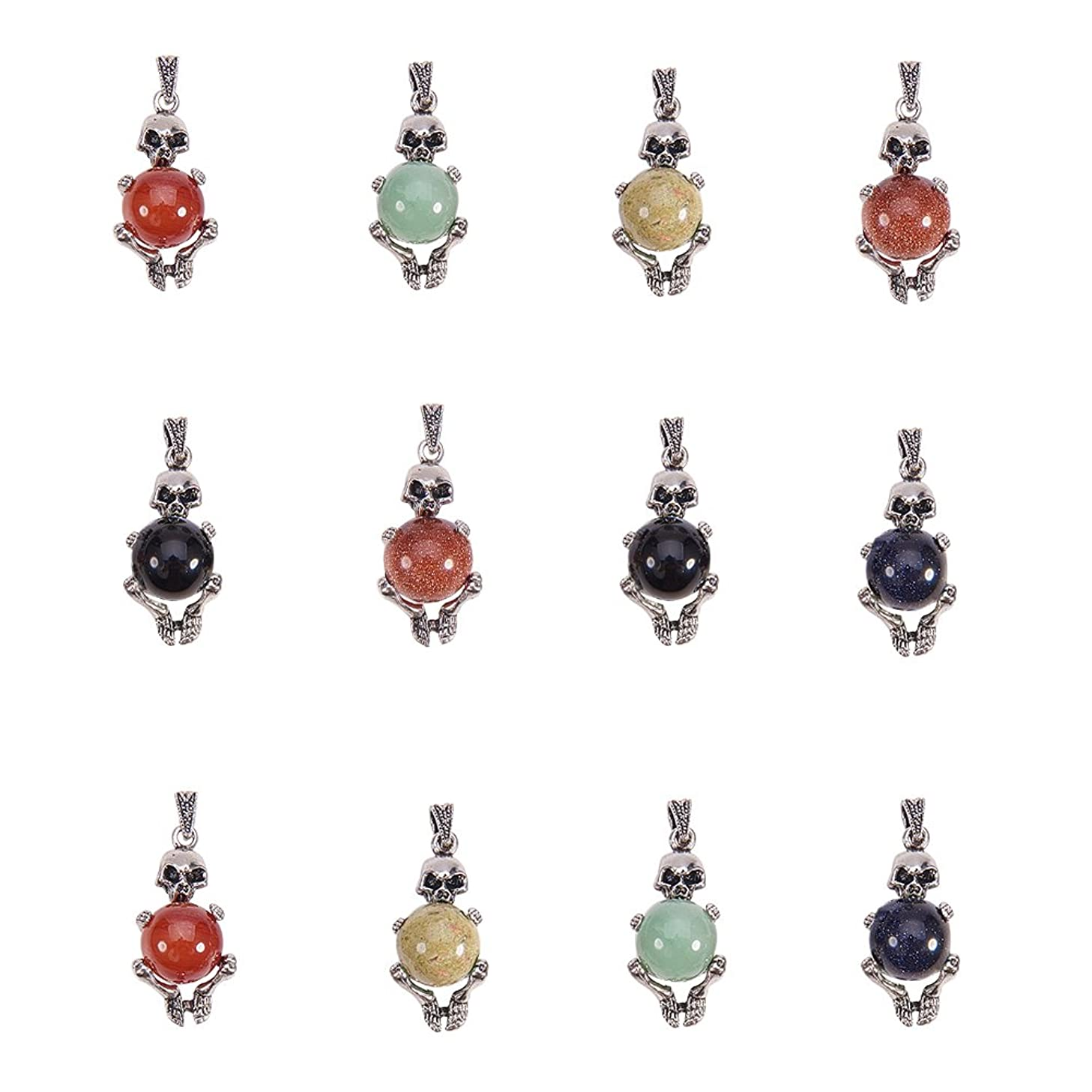 NBEADS 10 Pcs Gemstone Pendants, with Alloy Findings, Skull, Antique Silver, 41x19x17mm, Hole: 4x6mm
