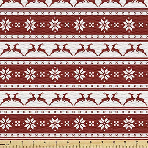 Ambesonne Christmas Fabric by The Yard, Norwegian Scandinavian Traditional Vintage Style Borders Reindeer Striped Flower, Decorative Fabric for Upholstery and Home Accents, 2 Yards, White Red