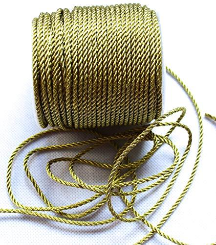 CaPiSo 50m Kordel 3 mm breit Schnur Kordelband gedrehtes Band (Gold)