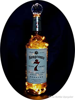 Upcycled Seagram's 7 Mood Therapy Liquor Bottle Light w/100 Warm White LED's Topped Off with an Asfour 30% Leaded Clear Crystal Prism Ball