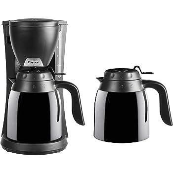 Bestron Cafetera con 2 Termos, Para Café de Filtro Molido, Para 10 Tazas, 800 W, Negro: Amazon.es: Hogar