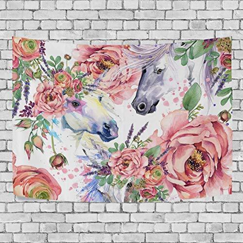 AEMAPE Magic Unicorn Roses Flowers Tapiz de Dormitorio Colgante de Pared Exclusivo Tapices de Fondo Multiusos para Sala de Estar, Entrada y Cocina. 60x40 Pulgadas