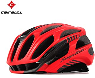 Black red M : CAIRBULL Cycling Helmet Road MTB in-Mold Bicycle Helmet Ultralight Bike Helmet with LED Warning Lights Safely Cap Casco Ciclismo