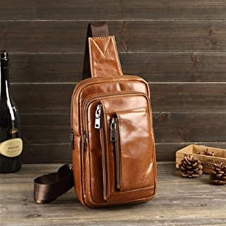 Hbssee Men's Messenger Bag Leather Chest Bag Sling Shoulder Bag Men's Fashion Messenger Bag Men's Travel Chest Bag (Color : Yellow)