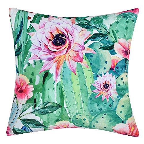 JWH - Federa per cuscino con stampa floreale, 100% velluto, per decorare la casa, il divano, la poltrona, il letto, l'auto o l'ufficio, Velluto, Fiore di cactus., 17 x 17 Inch