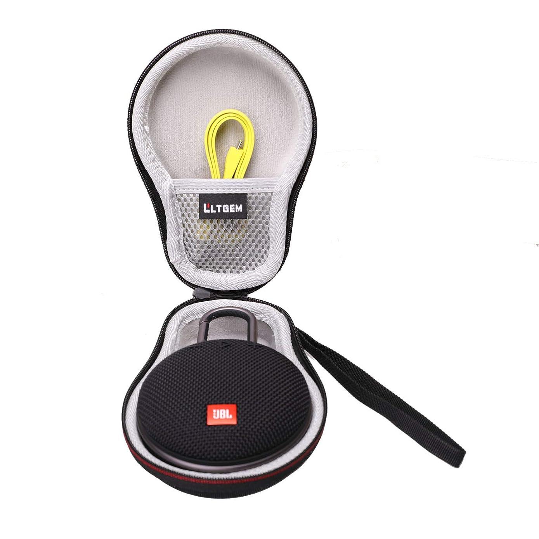 LTGEM EVA Hard Travel Carrying Case for JBL Clip 2 or JBL Clip 3 Waterproof Portable Bluetooth Speaker.Fits USB Cable and Charger.(Black)