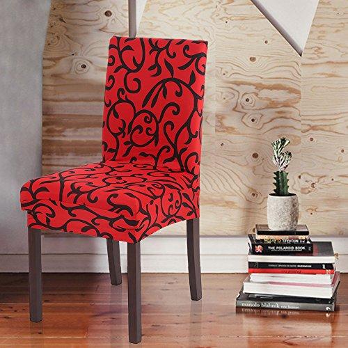 pedkit - Removibile Lavabile Breve Dining Chair Soft Cover Seta del Latte Spandex Stampa Copertura della Sedia Slipcover per la Festa di Sala da Pranzo dell'hotel coperture Cerimonia a