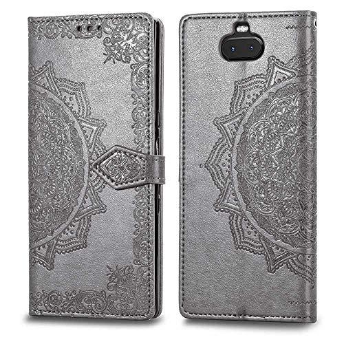 Bear Village Hülle für Sony Xperia 10 Plus, PU Lederhülle Handyhülle für Sony Xperia 10 Plus, Brieftasche Kratzfestes Magnet Handytasche mit Kartenfach, Grau