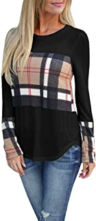 Womens Long Sleeve Buffalo Plaid T Shirts Casual Loose Fit Color Block Fall Outfits Trendy Tunic Tops Blouse