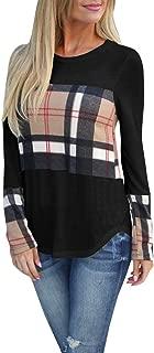 Tutorutor Womens Long Sleeve Buffalo Plaid T Shirts Casual Loose Fit Color Block Fall Outfits Trendy Tunic Tops Blouse