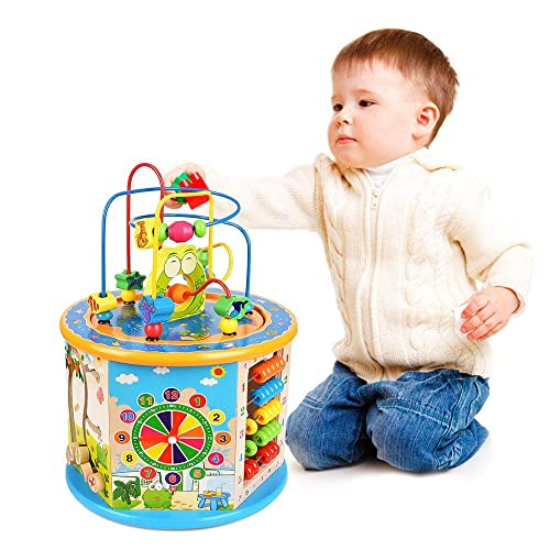 92df02782594 Titiyogo Wooden Activity Cube 8 in 1 Learning Toys for 3+ Years Old Boys  Girls
