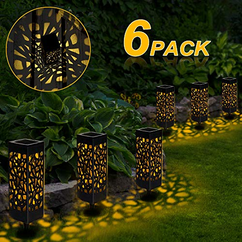 Sylanda 6 Stück Solarleuchte Garten, Solar Laterne Wasserdicht IP65, Energie Sparen Solar Lampen, LED Lichteffekt Dekoration Licht für Terrasse, Rasen, Garten Hofwege und Wege