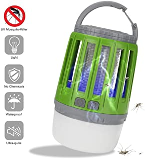 Lámpara Antimosquitos, Bug Zapper 2 en 1 LED Linterna de Camping UV Trampa de Insectos Luz de Tienda Portátil USB Recargable para Acampar Al Aire Libre Interior Senderismo Pesca