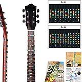 Pegatina para notas de guitarra, trastes de diapasón, para principiantes, aprendices, práctica de 6 cuerdas, guitarra eléctrica acústica para guitarra completa hasta 24 trastes