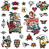 CARGEN Vintage Temporary Tattoo Sailor Jerry Temporary Tattoos Traditional Tattoo Cool Classic Old School Stickers For Men Women For Boys Girls For Party Waterproof