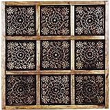 Orientalische Holz Ornament Wanddeko Anida 60cm gross XL | Orientalisches Wandbild Wanpannel in Schwarz als Wanddekoration | Vintage Triptychon als Dekoration im Schlafzimmer oder Wohnzimmer