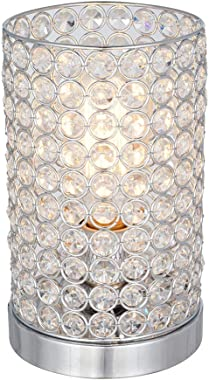 Amazon Brand – Rivet Modern Glam Glass Beads Uplight Table Desk Accent Lamp With LED Light Bulb - 5.5 x 5.5 x 9 Inches, Chrome