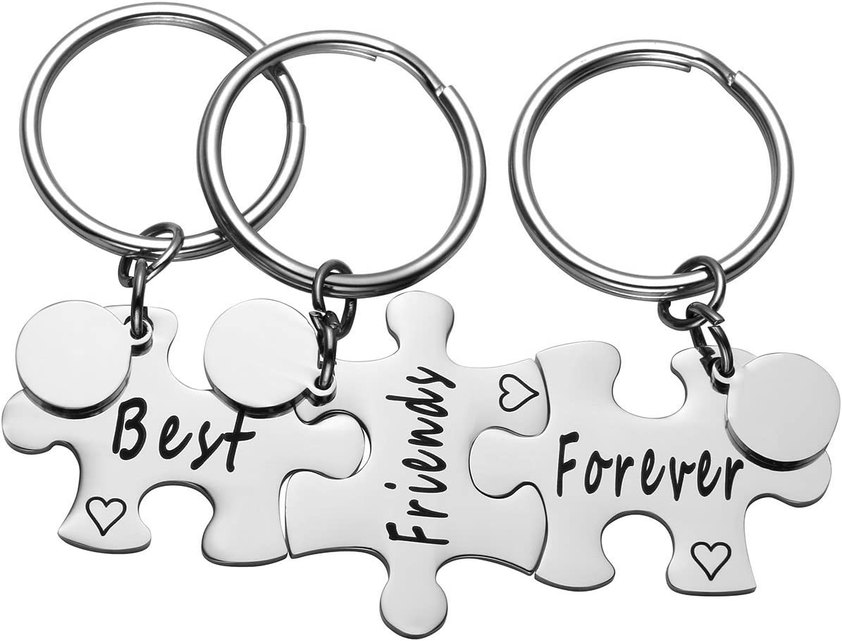 Jovivi Stainless Steel Best Friends Forever Jigsaw Puzzle Piece Heart Pendant Keychains for 3 - VSister BFF Best Friends Forever Gift