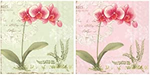 Scout and Company L'Orchidee Orchids Floral Green and Rose Pink Flower Bundle Cocktail Napkins - Cute Designer Cocktail Napkins 3-ply, 40 count - For Barware, Beverage Serviettes and Cocktail Party
