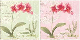 Scout and Company L'Orchidee Orchids Floral Green and Rose Pink Flower Bundle Cocktail Napkins - Cute Designer Cocktail Na...