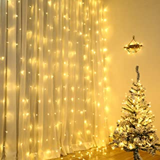 Lyhope 300LED Curtain String Lights, 9.8 ft x 9.8 ft Connectable Window Curtain Fairy Lights, 8 Modes Low Voltage Christmas Lights for Bedroom Wall Backdrop Wedding Party Indoor Decor (Warm White)