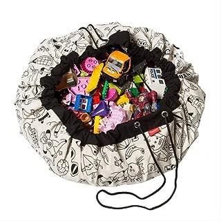 Szl Foldable Kids Toy Storage Bag Folding Bucket Laundry Cylinder Basket for Toys Organizer Cute Toys Storage Bags