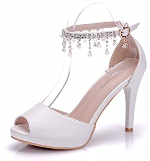 Peep Toe Women Ankle Strap High Heels Sandals Platform Shoes White Pearls Chain Tassel Party Evening Dress Wedding Shoes