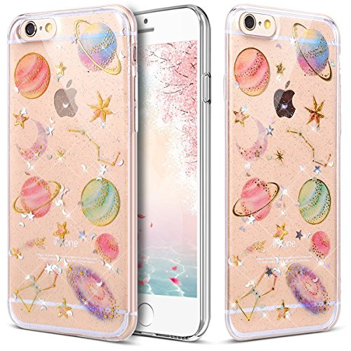 fangke  iPhone 5 Case,iPhone 5S Case,iPhone SE Case, Protective Hybrid Crystal Sparkle Glitter Transparent Shockproof Gel Soft TPU Case for iPhone 5/5S/SE with Tempered Glass Protector