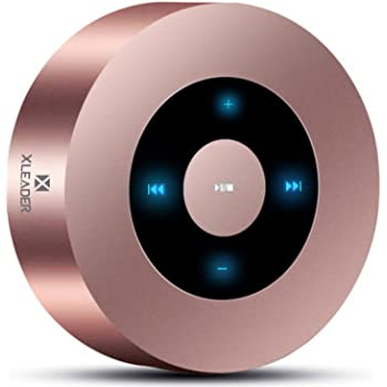 XLEADER SoundAngel (3rd Gen) 5W Touch Bluetooth Speaker with Waterproof Case, 15h Music, Louder Crystal HD Sound, Premium Mini Portable Bluetooth Speaker for iPhone iPad Tablet Shower, Rose Gold