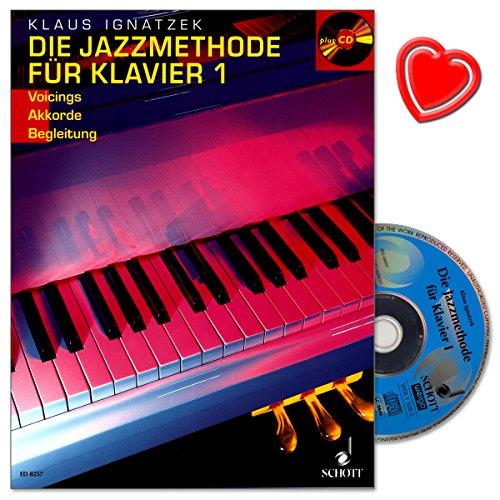 De Jazzmethode voor piano band 1 met CD - auteur Klaus Ignatzek - Jazz: Voicings, akkoorden (met kleurrijke hartvormige muziekklem) - Schott Music ED8257 9783795751401