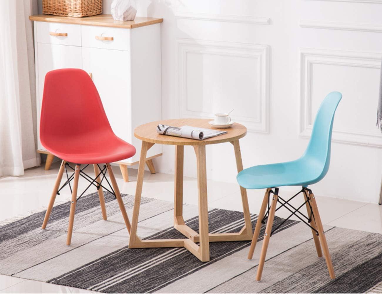 Chaises de Salle à Manger Tabourets PP et Pieds en Bois Massif Style rétro pour Salon de Bureau Chaises de Cuisine à Manger-Red Sky Blue