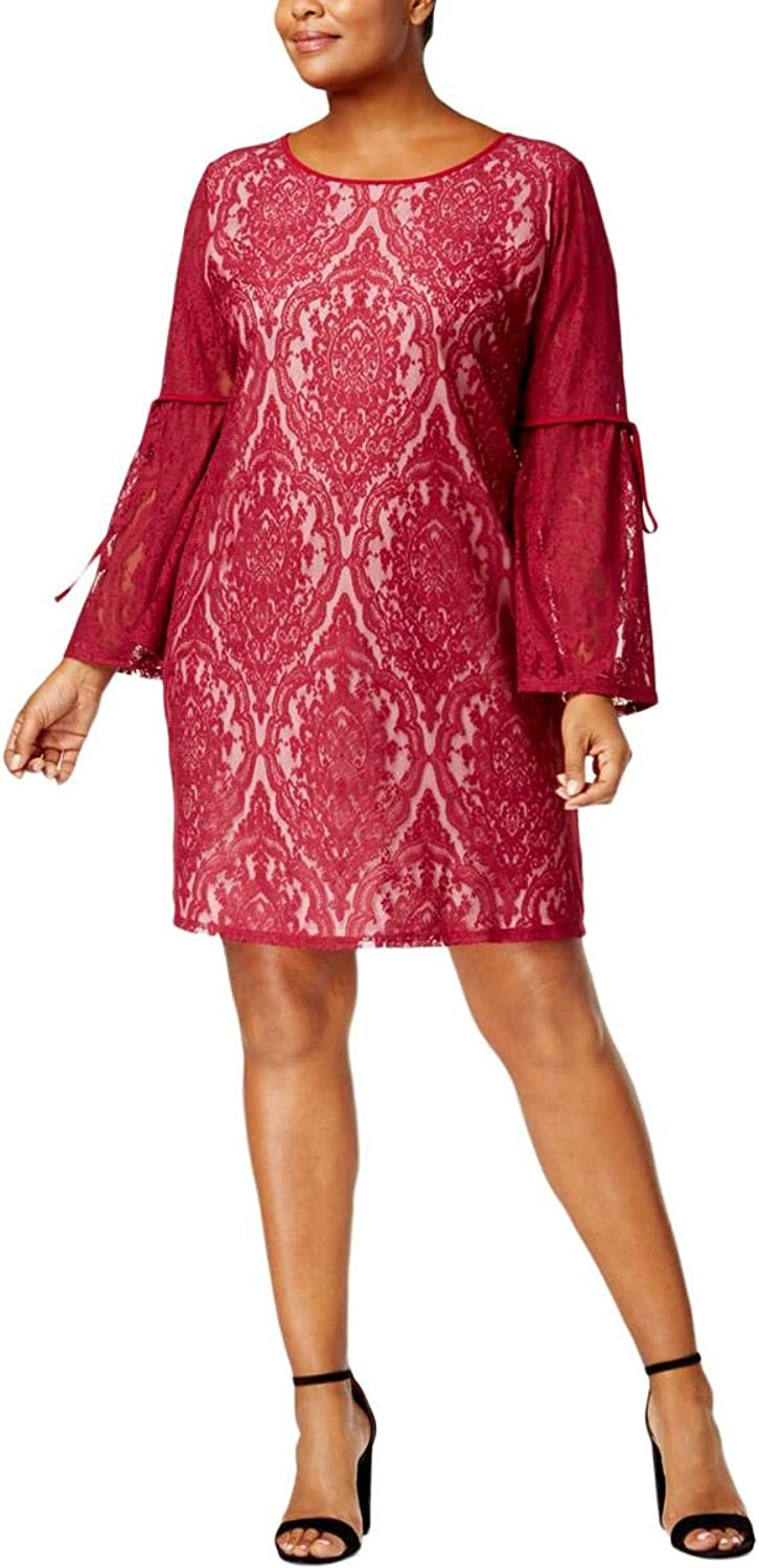 NY Collection Womens Plus Lace Illusion Cocktail Dress