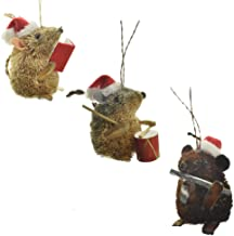 Homeford Buri Bristle Caroling Mice Ornaments, 3-Inch, 3-Piece