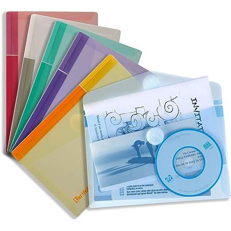 Tarifold 6 Enveloppes Porte-documents Plastique Non Perforées Fermeture Scratch Format A6-6 couleurs (Bleu, Violet, Vert, Jaune, Rose, Transparent) - 510289