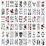 Qpout 60 hojas Tatuajes Temporales para Adultos Mujeres Hombres Niños, impermeable negro rojo tribal tatuaje pegatinas, cara brazo manga muñeca tatuaje, tótem flor mariposa cráneo animal pluma