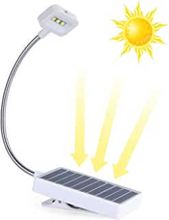 Solar LED Book Light,Solar Eco and USB Recharging,Glowseen Soft Clip Reading Lamp, Adjustable 2-Level Brightness, Best for...