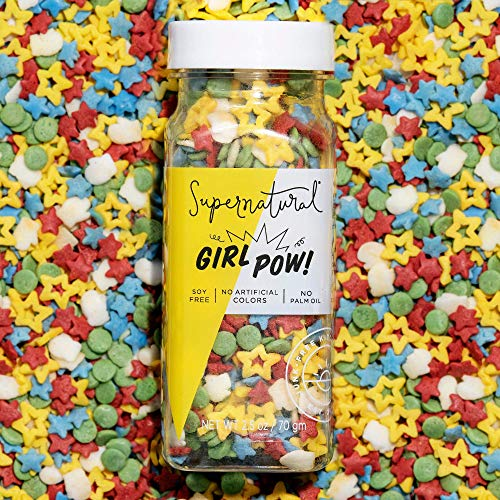 Rainbow Girl Pow! Sprinkles by Supernatural, Natural Confetti Sprinkles, Gluten-Free, Vegan, No Artificial Dyes, Soy Free for Healthy Baking, 3 oz