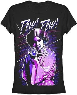 Star Wars Leia Pew Pew Juniors Black T-Shirt