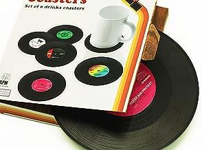 Janazala Vintage Vinyl Record Beverage Table Coasters For Drinks, Including Bottle Opener. For Wine Glasses, Beer, Whiskey, Cocktail, Hot and Cold Drinks, Set of 6