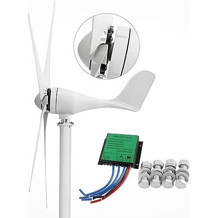 Dyna-Living Wind Turbine Generator 500W DC 12V Wind Turbine 5 Blade Low Wind Speed Starting Bearings Garden Street Lights Wind Turbines with Charge Controller Garden