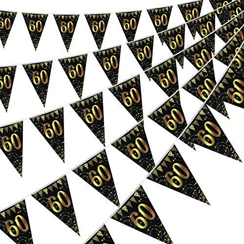 Happy Birthday Banner Bunting Flaggen 5 Stück Gold & Schwarz Funkeln Geburtstag Jahrestag Party Dekoration Zubehör, 7,4 x 10,8 Zoll (60. Geburtstag)